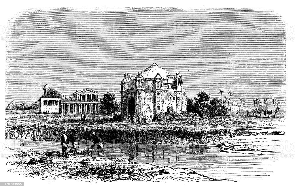 Antique Illustration Of Amakali Church In Lahore India Stock