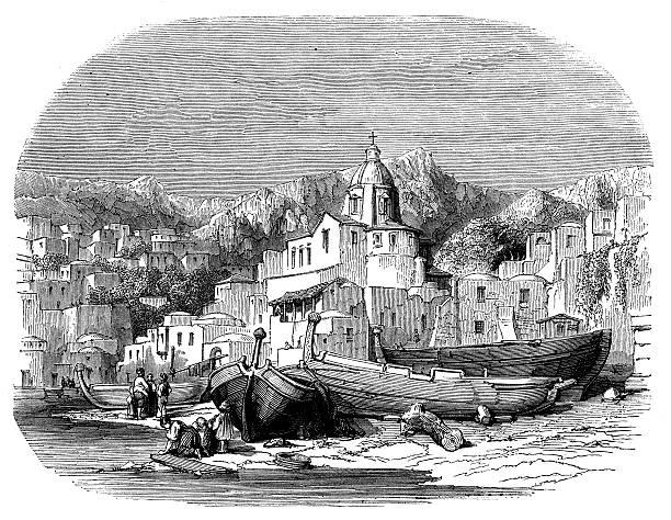 illustrazioni stock, clip art, cartoni animati e icone di tendenza di illustrazione d'epoca della costiera amalfitana - amalfi