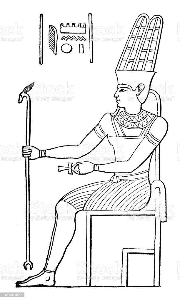 Antique illustration of Amun (Amon) vector art illustration