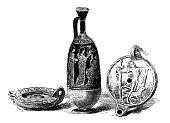 Antique illustration of ancient Greek oil lamps and vase
