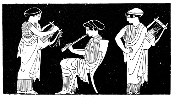 Antique illustration of ancient Greek women playing lyre and flute