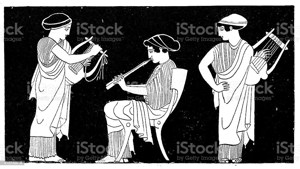 Antique illustration of ancient Greek women playing lyre and flute vector art illustration