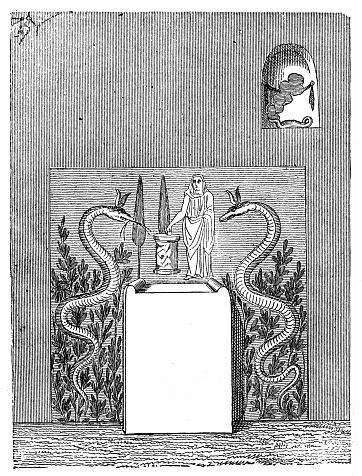 Antique illustration of ancient Roman domestic altar
