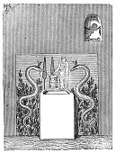 istock Antique illustration of ancient Roman domestic altar 512755364