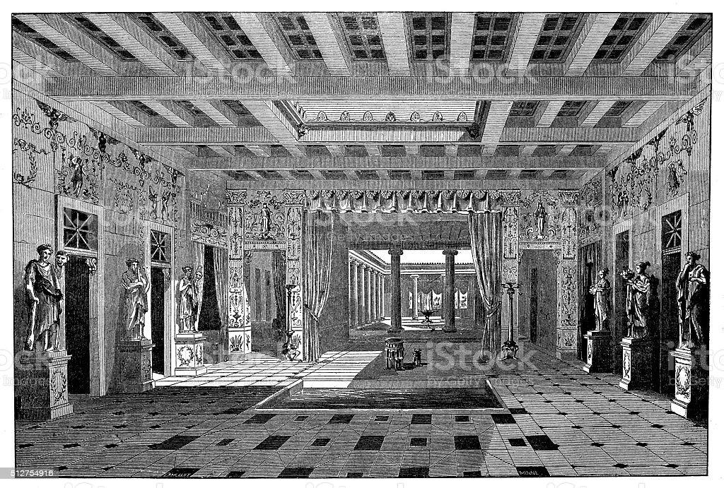 Antique illustration of ancient  Roman house of Pansa (Pompeii, Italy) vector art illustration