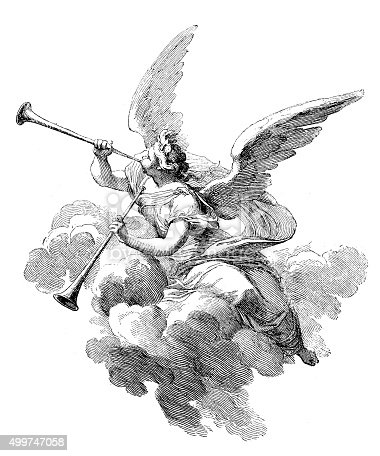 Antique illustration of a dressed angel playing two trumpets while sitting on a cloud. This engraving was realised by Sebastien Leclerc as a part of his tapestry representing the Four Season