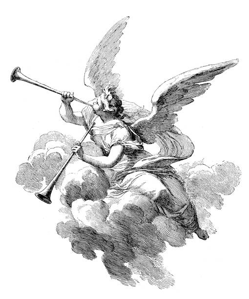 stockillustraties, clipart, cartoons en iconen met antique illustration of angel playing  trumpets - blaasinstrument