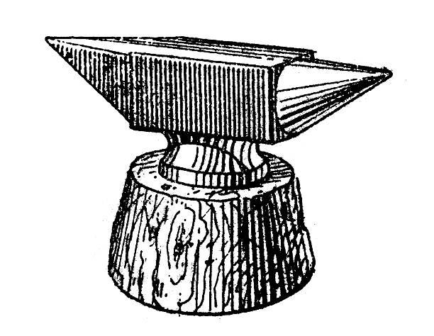 Antique illustration of anvil vector art illustration