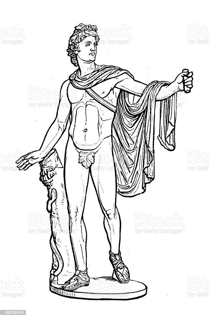 Antique illustration of Apollo of the Belvedere (Pythian Apollo) vector art illustration