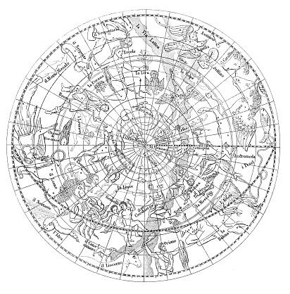 Antique illustration of astronomy constellations