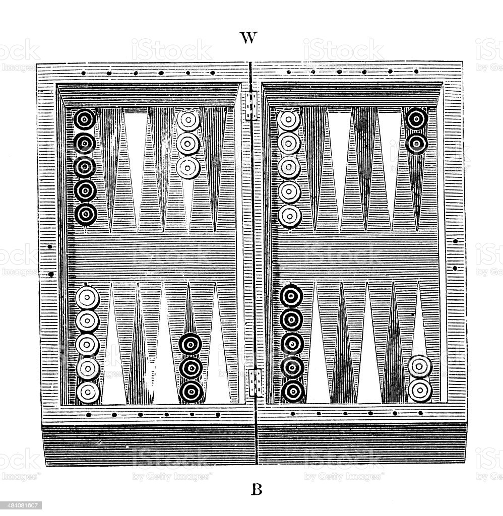 Antique illustration of backgammon vektör sanat illüstrasyonu