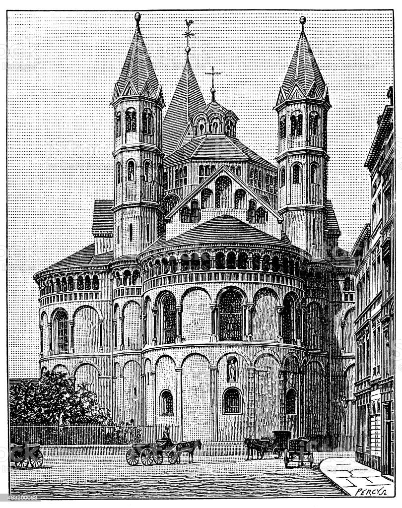 Antique illustration of Basilica of the Holy Apostles, Cologne vector art illustration