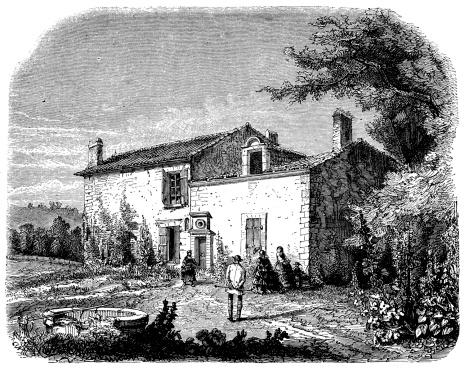 Antique illustration of Berquin's home in Langoiran, Bordeaux, France