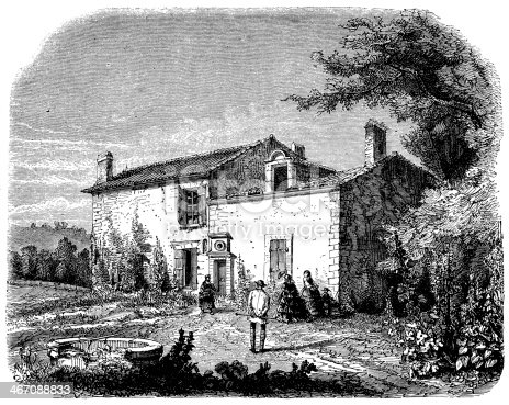 Antique illustration of Berquin's home in Langoiran, Bordeaux, France