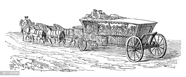 Antique illustration of the big 18th century French carriage called