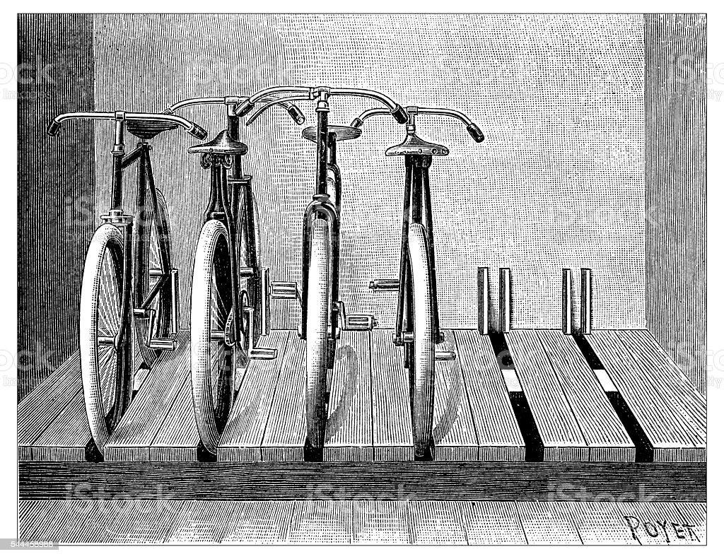 Antique illustration of bike rack vector art illustration