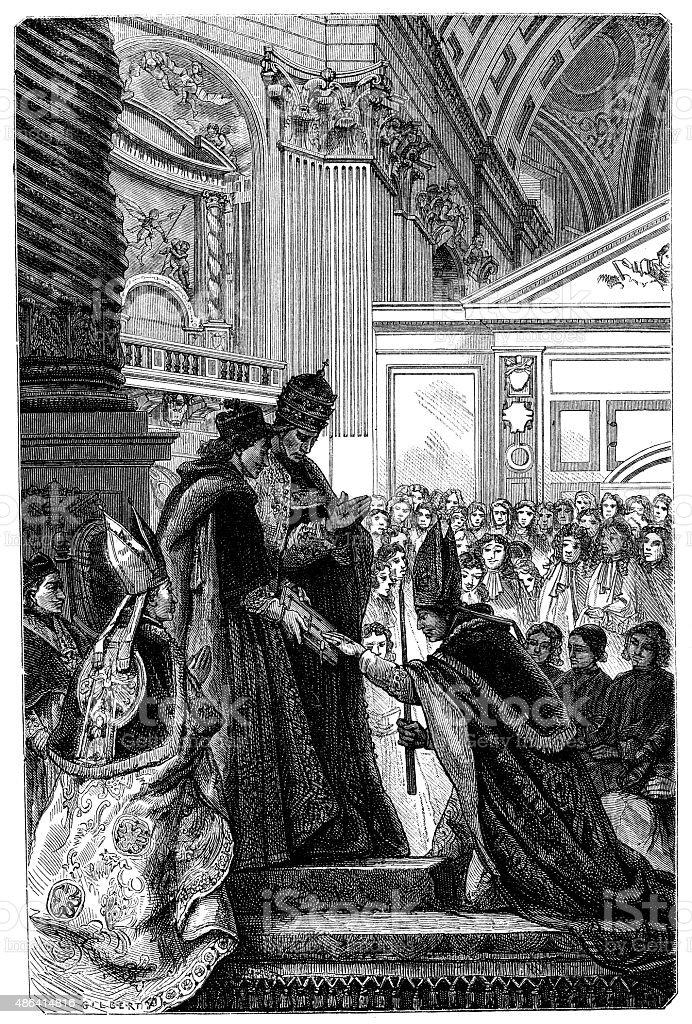 Antique illustration of bishop and pope vector art illustration