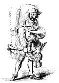 Antique illustration of bizarre Irish musician