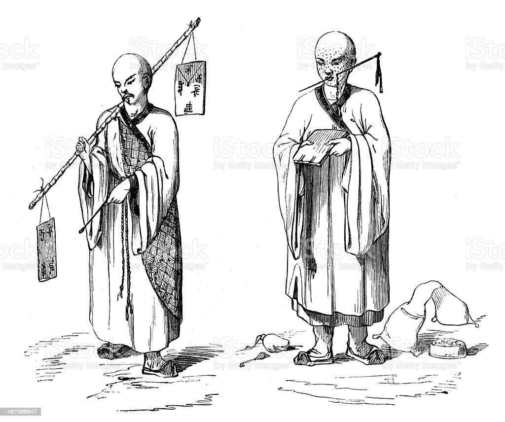 Antique illustration of bonzo royalty-free stock vector art