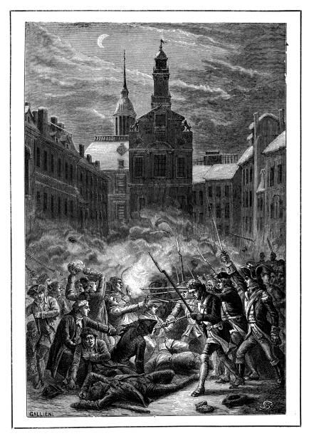 Antique illustration of Boston Massacre (Incident on King Street) US history and American civil war: antique illustration of Boston Massacre (Incident on King Street) mass murder stock illustrations