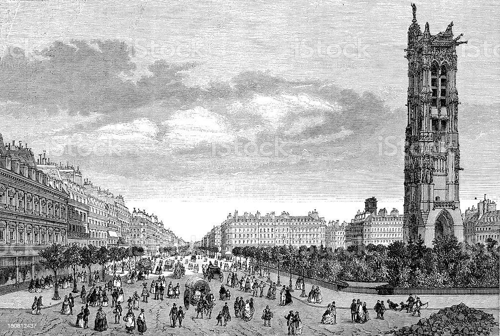 Antique illustration of Boulevard de Sebastopol, Paris royalty-free stock vector art