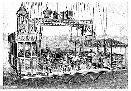 Antique illustration of bridge loader elevator