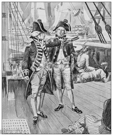 Antique illustration of British Navy and Army