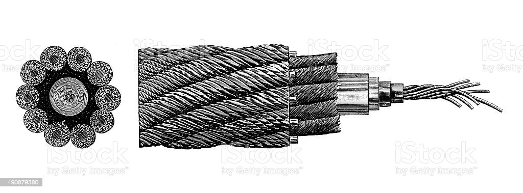 Antique illustration of cable vector art illustration
