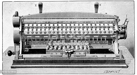 istock Antique illustration of calculator 475757915