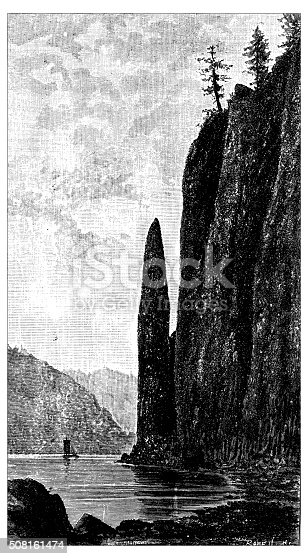 Antique illustration of Cape Horn in the Columbia River