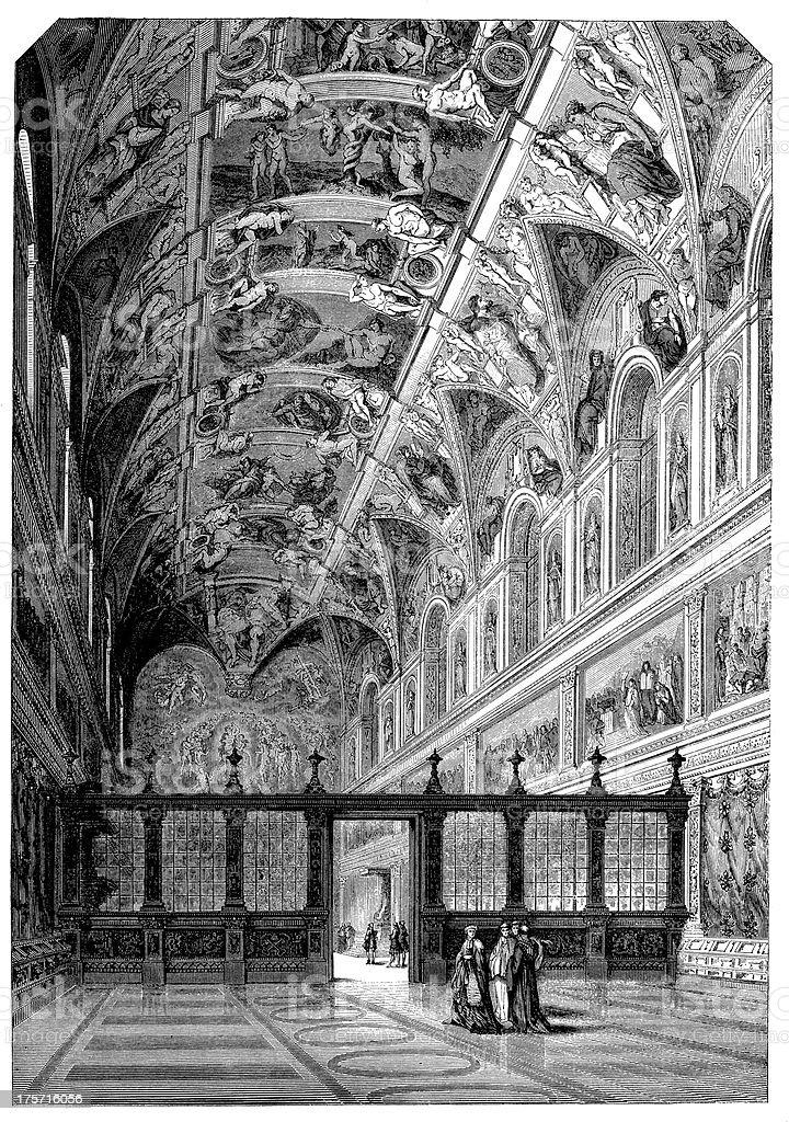 Antique illustration of Cappella Sistina vector art illustration