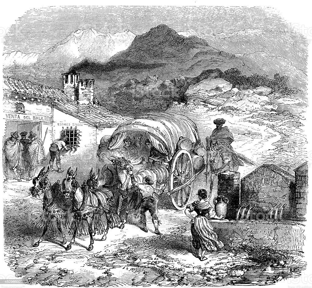 Antique illustration of caravan arriving in Sierra Nevada vector art illustration
