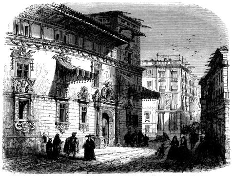 Antique illustration of Casa de Gralla in Barcelona