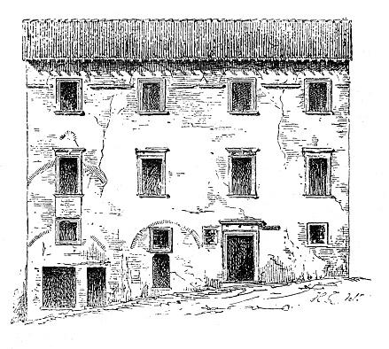 Antique illustration of Casa Santi-birthplace of Raffello Sanzio (Urbino, Italy)