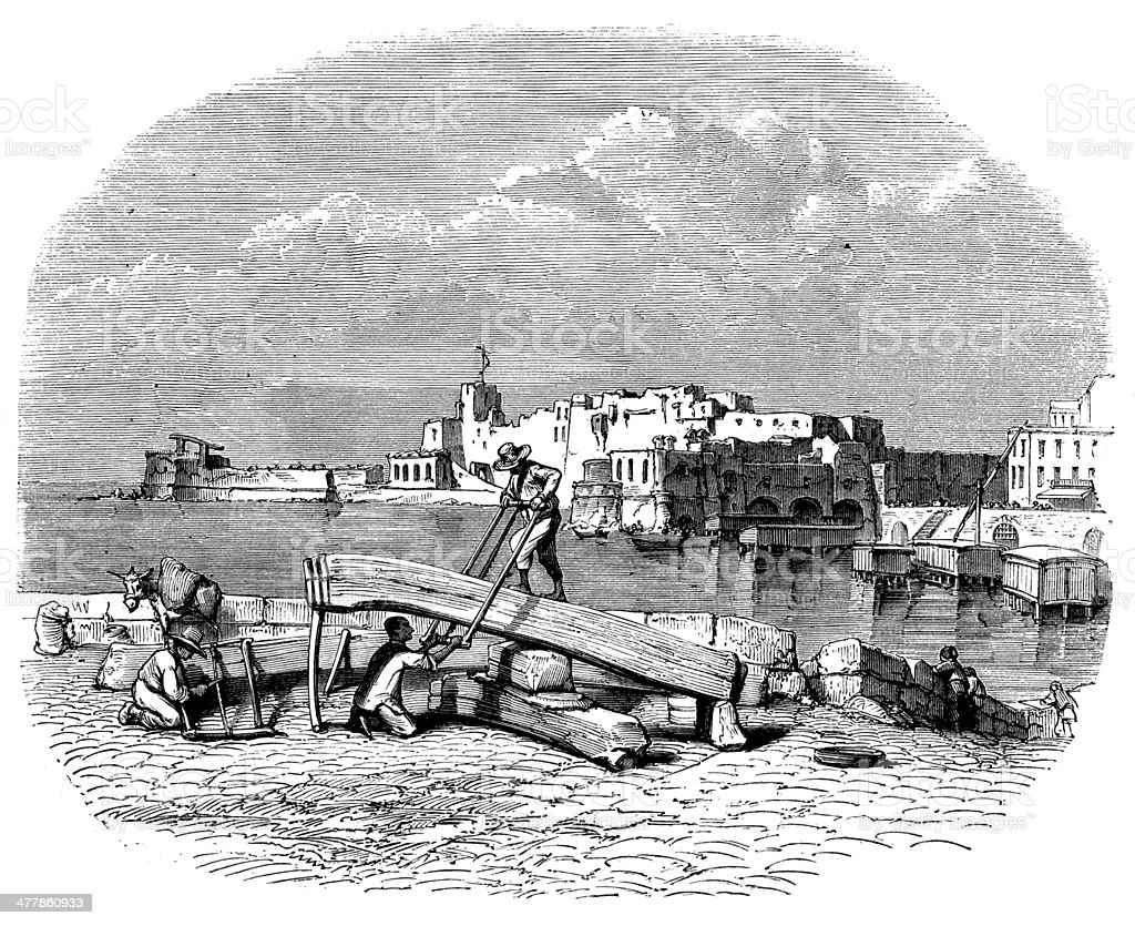 Antique illustration of Castel dell'Ovo (Castrum Ovi) in Naples royalty-free antique illustration of castel dellovo in naples stock vector art & more images of 19th century style