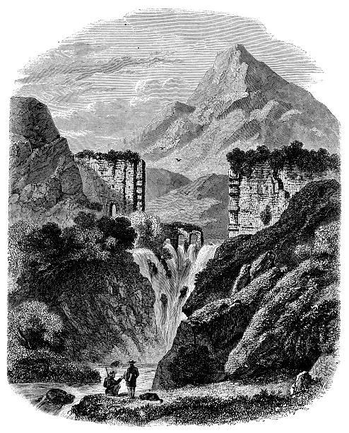 illustrations, cliparts, dessins animés et icônes de ancienne illustration de cause la rivière cascade à aix - aix en provence