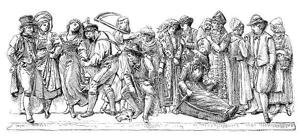 Antique illustration of Central Europe people with local clothing