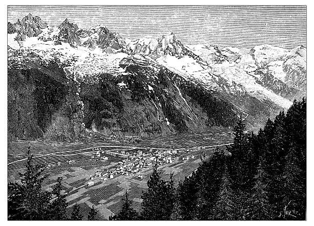 illustrazioni stock, clip art, cartoni animati e icone di tendenza di antique illustration of chamonix, mont blanc - monte bianco