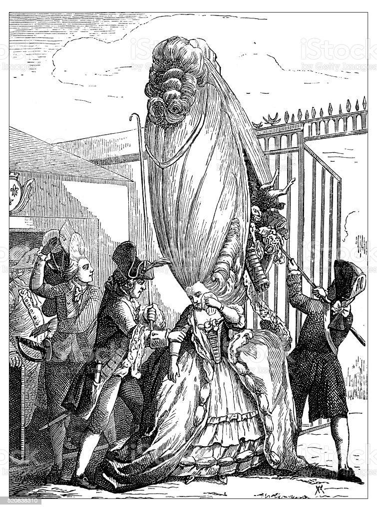 Antique illustration of cheating attempt, hiding stuff in the hairdo vector art illustration