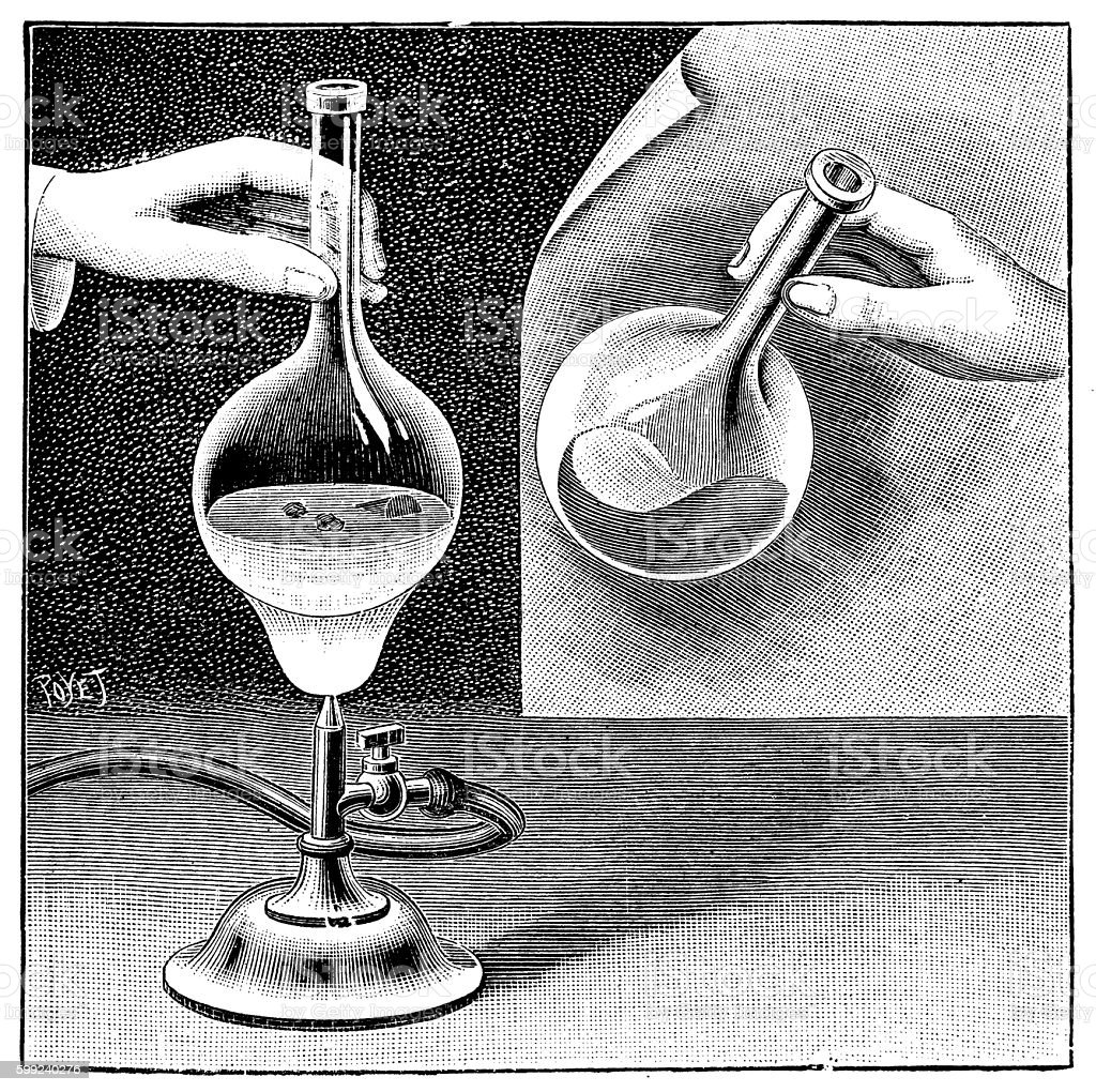 Antique illustration of chemistry experiment vector art illustration