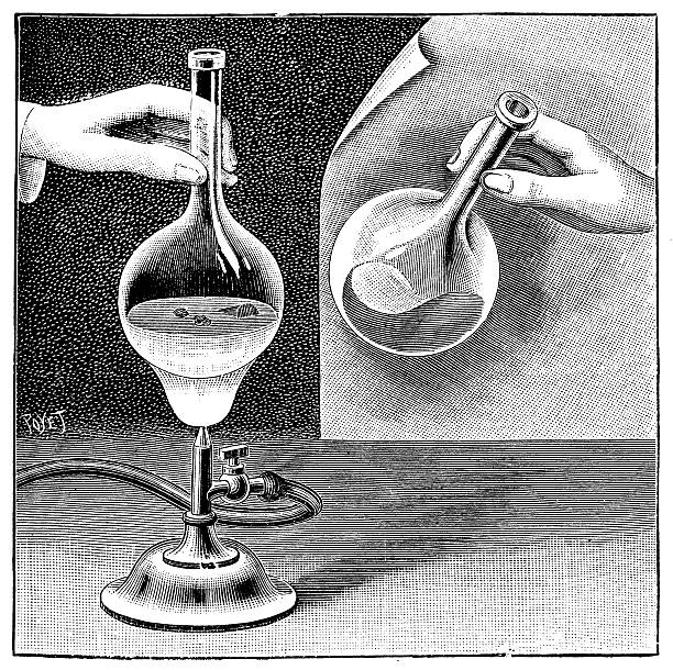Antique illustration of chemistry experiment vector art illustration