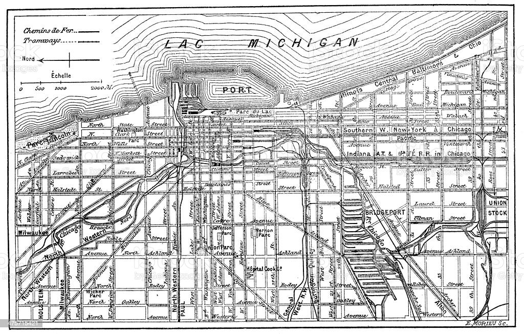 Antique Illustration Of Chicago Map Stock Vector Art More Images