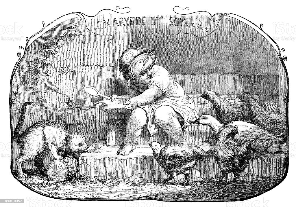 Antique illustration of child giving milk to cat royalty-free antique illustration of child giving milk to cat stock vector art & more images of 19th century style