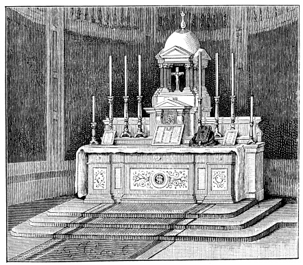 Antique illustration of church high altar