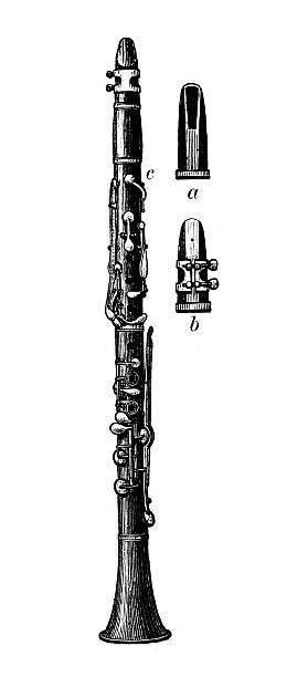 antyczne ilustracja przedstawiająca klarnet - klarnet stock illustrations