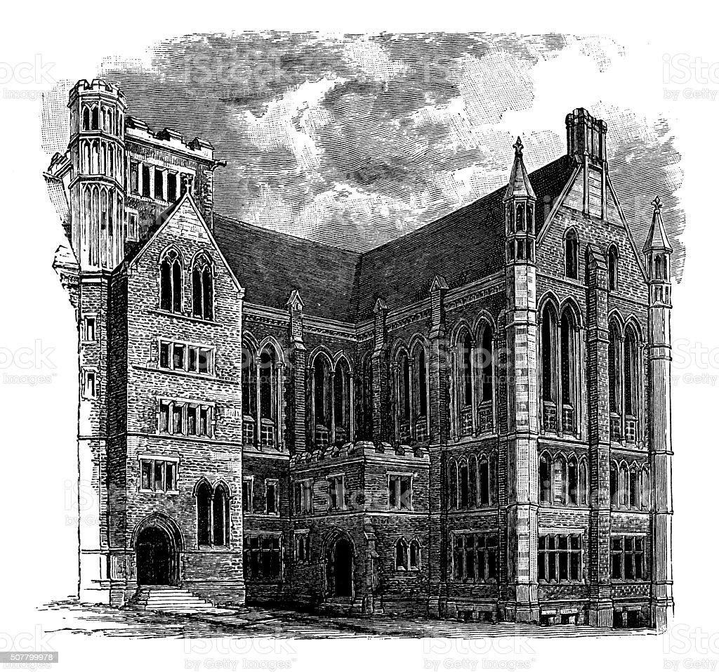 Antique illustration of Columbia College vector art illustration