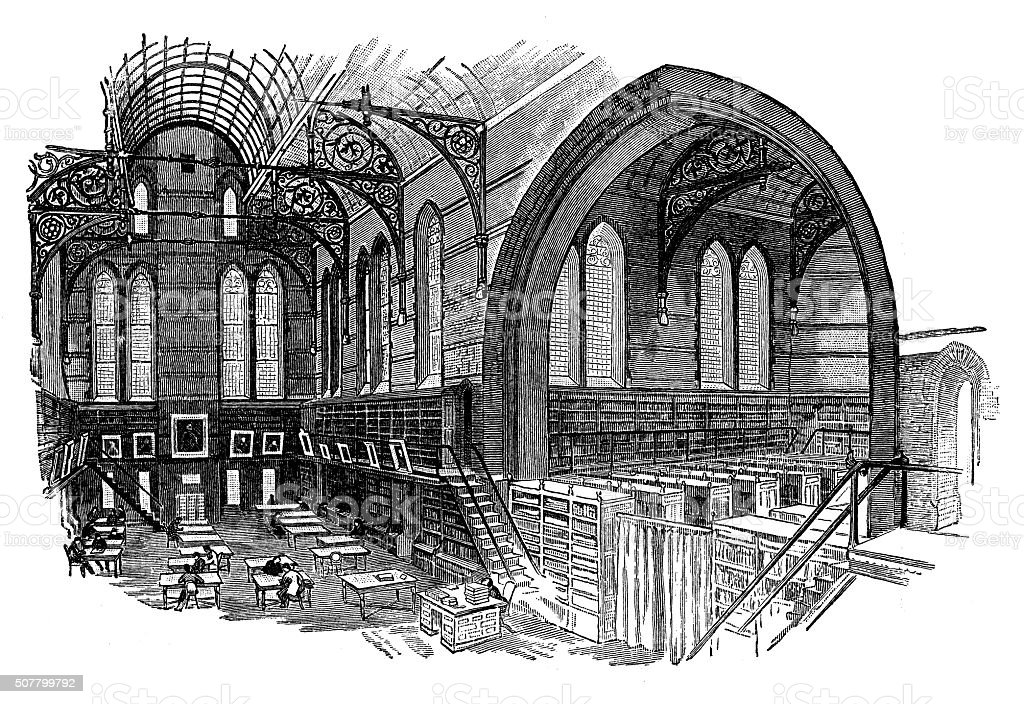 Antique illustration of Columbia College - Interior of the library vector art illustration