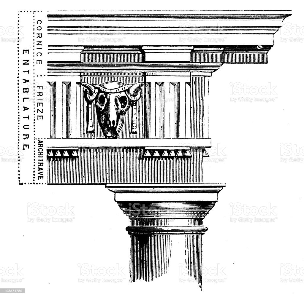 Antique illustration of column vector art illustration