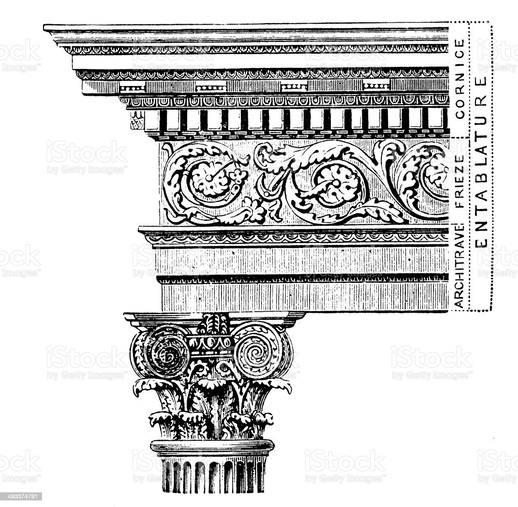 Antique illustration of column royalty-free stock vector art