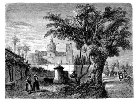 Antique illustration of convent San Miguel de los Reyes, Valencia